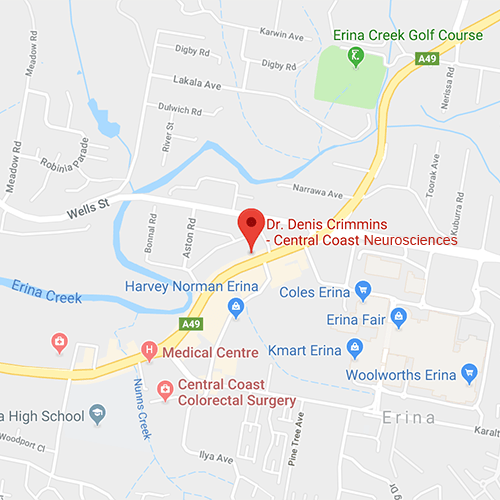 Directions map for Central Coast Neurosciences Erina Practice
